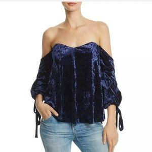 DO & Be Blue velvet bare shoulder top